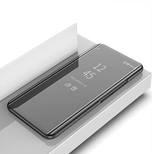 COVO® Oppo Realme 3 Hülle, Slim Smart Mirror Screen Cover & Ledertasche, Multifunktions Spiegel Fall Handyhülle für Oppo Realme 3-Schwarz