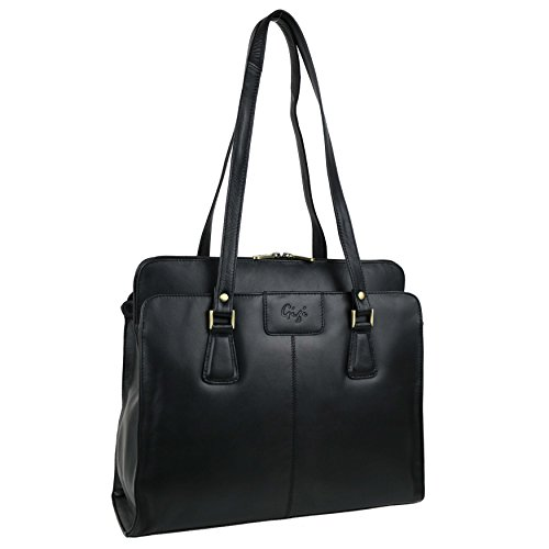 Gigi Damen Schwarz Leder Grab Work Bag Handtasche Schulter 70's Classic