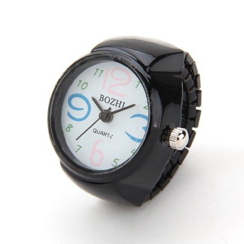 22mm rund Ringuhr Uhr Fingeruhr Uhrenring Metall Schwarz TOP