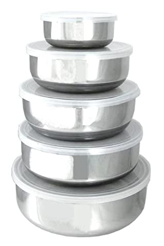 NEW Set of 5 Stainless Steel Mixing Bowls WITH Lids by ToolUSA