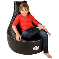 i-eX® Rookie Gaming Chair -Faux Leather - Kids Gaming Bean Bag - Great for a Gamer (Steel/Black)