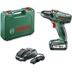 Perceuse-Visseuse sans-fil Bosch - PSR 14,4 LI-2 (Livrée avec 1 Batterie 18V-2,5Ah et son Coffret de Rangement en Plastique)