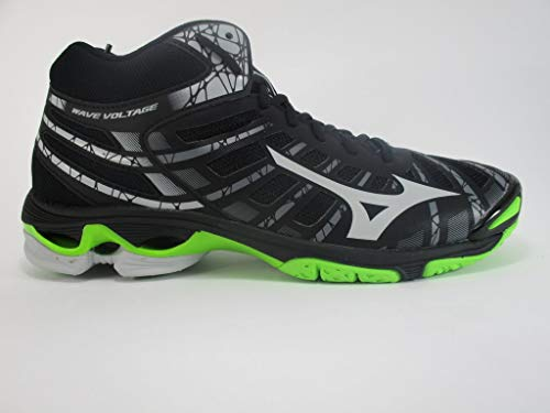 Mizuno Wave Voltage Mid, Scarpe da Pallavolo Unisex - Adulto, Nero (Black/High Rise/Green Gecko 37), 45 EU