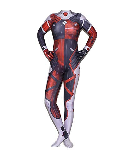 psuit 3D Spandex Lycra Halloween Thema Party Onesies Korsett Filmrequisiten Rot,OneColor-Adult/M ()