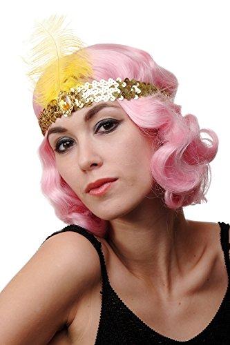 DRESS ME UP - Haarband Haarreif Stirnband Stirnreif Pailletten gold Charleston 20er Cabaret Feder VQ-006-GOLD