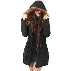 femme manteau fourrure hiver noir long Parka à capuche Trench coat veste,FR 46 Etiquette US14