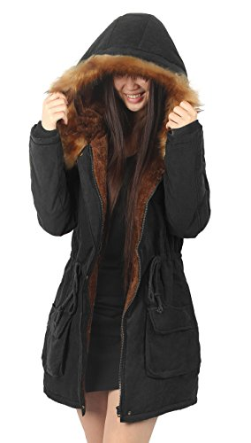 mantel damen pelz schwarz parka winter lang fell mit kapuze trench Coat Frau,Etikett US10, 42