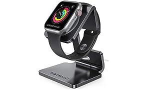 Lamicall Soporte para Apple Watch, Bases de Carga - Soporte Dock para Apple Watch Series SE, iWatch Series 6, 5, 4, 3, 2, 1, iWatch 44mm / 42mm / 40mm / 38mm - Negro