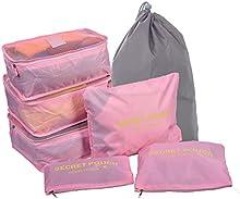 7Sets organizadores de viajes, Cubos de embalaje, bolsa de lavandería, bolsas de compresión de equipaje