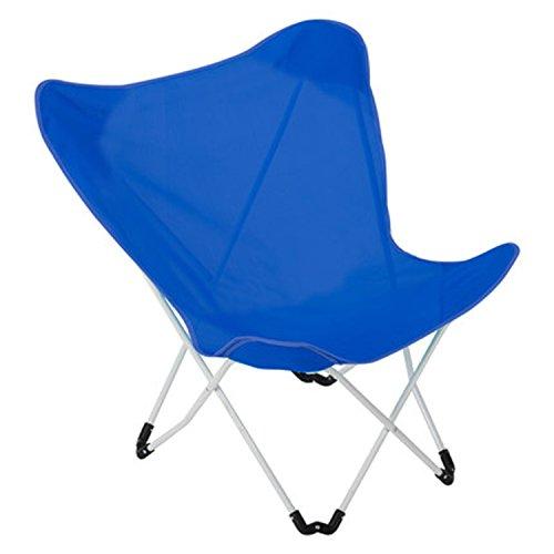 Chaise pliante, chaise papillon, chaise longue, chaise de loisirs (Couleur : Bleu)