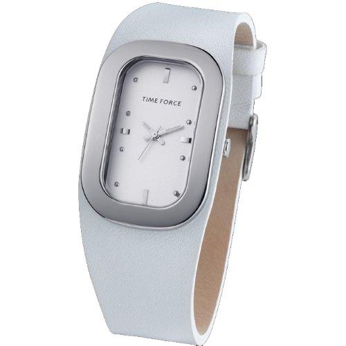TIME FORCE Señora. Montre Bracelet en acier Argent Cuir Cadran Blanc-3164L02 TF