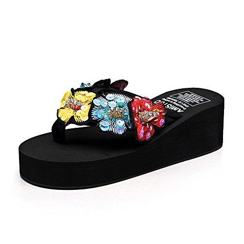 Cailin Sandals, 5,5cm Chaussons d'été féminins glissades antidérapantes (noir, beige, marron, bleu foncé, bleu clair, rose, blanc) ( Couleur : Blanc , taille : EU39/UK6.5/CN40 ) Noir
