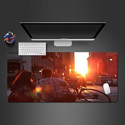 Mauspad 900 * 300 * 3mm Super Sweet Sunset Paare Mauspad Persönlichkeit PC Gaming Computer XL Mauspad Gaming Zubehör Mousepad GamerGeschenke Glatte Oberfläche, rutschfesteGummibasis (Anime Und Weiß Schwarz Paare)