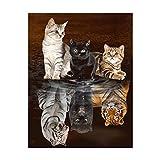 Peinture diamant numéro adulte 5D à faire soi-même broderie diamant kit complet animaux décoration murale point de croix Motif le chat devient un tigre - 45 x 55 cm