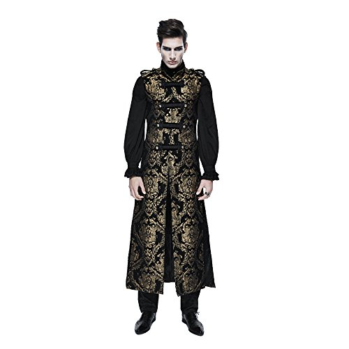 Devil Fashion M?nner Gothic Dragon Pattern Weste V Kragen Weste Weste Punk ?rmellos Lange Weste, XL
