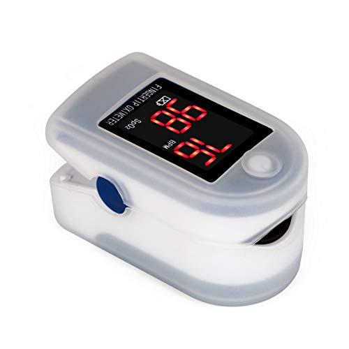 ZDHF Fingerpulsoximeter Blutsauerstoffsättigungsmessgerät fingertip SpO2 zur täglichen Messung des Perfusionsindex und der Herzfrequenz für den Haushalt,whiteprotectivecover