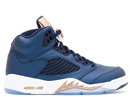 Nike Herren Air Jordan 5 Retro bg Basketballschuhe, Schwarz (Black Obsidian-MTLC Bronze rot-weiß), 38 EU