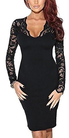 SunIfSnow - Robe spécial grossesse - Moulante - Uni - Manches Longues - Femme - noir - XX-Large