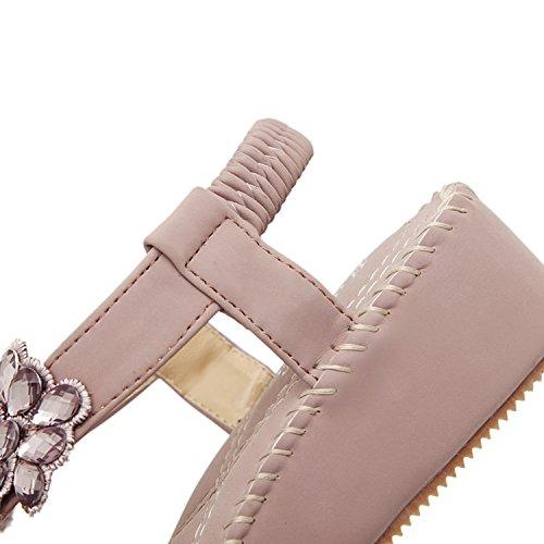 dqq Femme Plateforme Sangle élastique en perles de bois de santal Violet