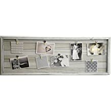 15 modelos de Marco de madera de pared con soporte de imagen de cuerda y pinzas pequeñas decoradas, portafotos de pinza vintage (Blanco roto, 32 x 92 cm)