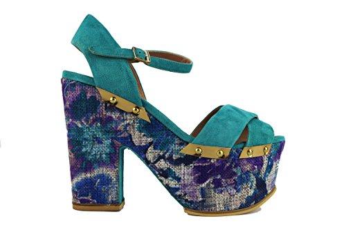 MY COCHO 40 EU sandali donna turchese camoscio AH536