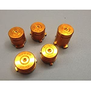 Laixing High Qualität Gold #A1889 Aluminum ABXY&Guide Bullet Buttons fur Xbox 360 Controllers