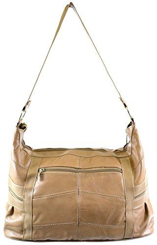 Damen Große Leder Umhängetasche/Handtasche (schwarz, braun, hellbraun, Fawn) Beige