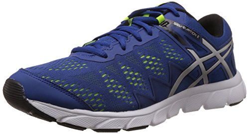 Asics Men's Gel Evation 2 Blue, Silver and Flash Yellow Mesh Running Shoes - 6 UK  available at amazon for Rs.3399