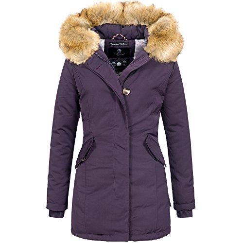 Marikoo KARMAA Damen Jacke Parka Mantel Winterjacke warm gefüttert Luxus XXL Kunstpelz 7 Farben, Größe:L - 40;Farbe:Lila