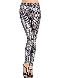 017938ef88fca New Ladies Women's Sexy Mermaid Fish Scale Hologram Soft Shine Leggings UK  Plus Size 8-