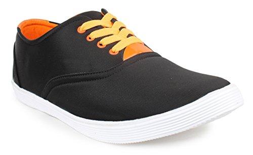 casual chaussures usure toile baskets hommes lacent chaussures formelle Noir et orange