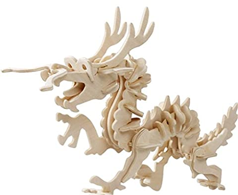 Holzsammlung® 3D Wooden Jigsaw Puzzle - Dragon Pattern - Children Educational Wood Craft Puzzles Toy DIY Kit for Child 3 Year and Up -- Perfect Christmas Gift for Your