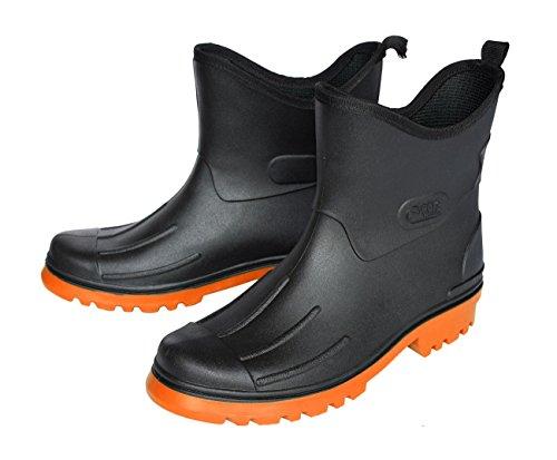 1239moderne Messieurs PVC courte–Bottes, Peter, noir/orange noir-orange