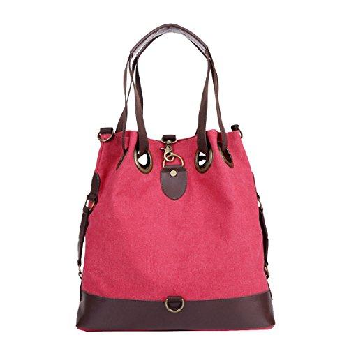 Yy.f Neue Leinwand Handtaschen Retro- Paket Wild Mode Freizeit Gezeiten Segeltuchtasche Messenger Portable Schultertasche Tasche Flut Red