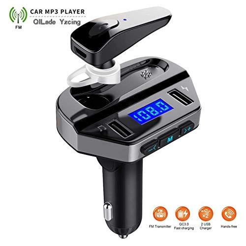 QILade Yzcing Bluetooth FM Transmitter für Auto mit kabellosem Kopfhörer, Radio Adapter Car Kit mit Freisprech-Headset, Unterstützung USB-Stick Music Player Dual Fast Charger Headset Und Car Kit