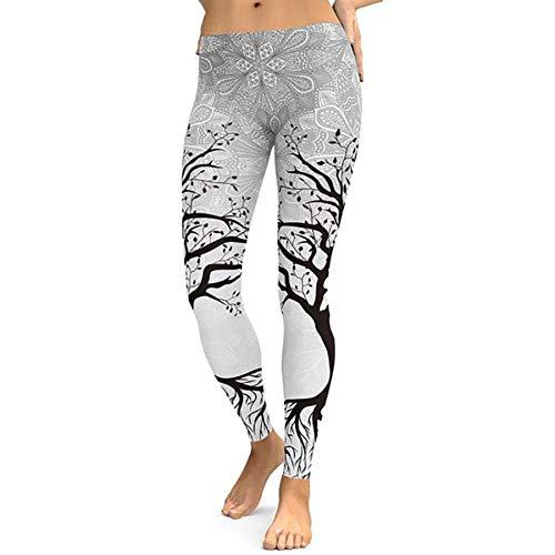 Feidaeu Mujeres Fitness Leggings Black Tree DesignTight Elastic Wear T