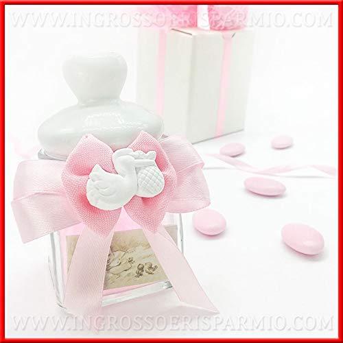 Ingrosso e risparmio barattolo in vetro con tappo bianco in ceramica a chiusura ermetica, fiocco rosa in raso e gessetto a forma di cicogna, bomboniere originali nascita femmina (con confetti rosa)