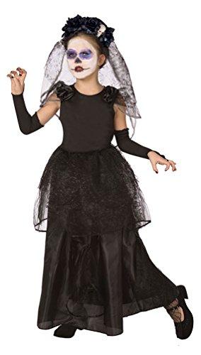 Karneval-Klamotten Dia de los Muertos Kostüm Kinder Mädchen La Catrina Kinder-Kostüm Tag der Toten Brautkleid inkl. Schleier + Handschuhe Größe 146