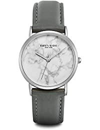 Eastside Reloj mujer acero inoxidable plata piel gris 3ATM–Reloj de cuarzo para mujer Fashion toque minimalista reloj