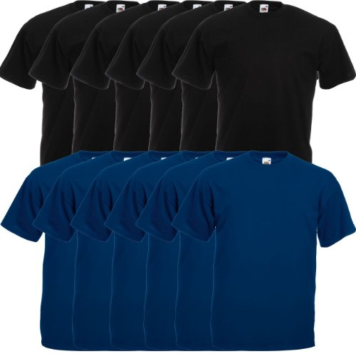 Fruit of the Loom Original Valueweight T Rundhals T-Shirt F140 3er 6er 9er 12er Pack 6x black 6x fuchsia