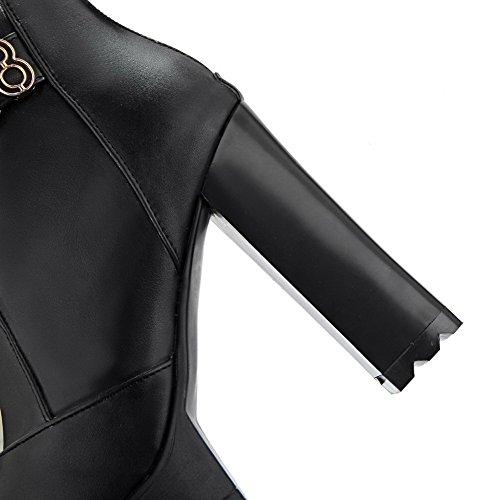 VogueZone009 Donna Finta Pelle Scamosciata Bassa Altezza Puro Cerniera Stivali con Metallo Nero