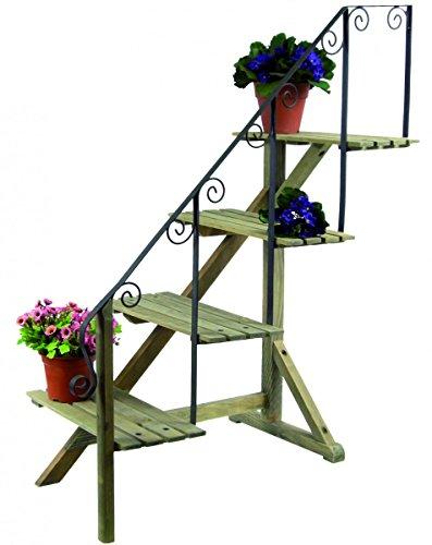 Blumentreppe Pflanzentreppe 107cm Pflanzregal Blumenregal 4 Stufen Holz