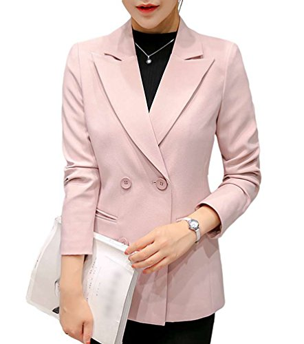 YiLianDa Mujeres Blazers Negocio Abrigo Delgado OL Chaqueta Coat Cloak Rosa L
