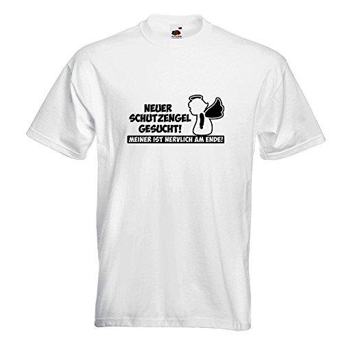 KIWISTAR - Neuer Schutzengel gesucht! Guardian Angel T-Shirt in 15 verschiedenen Farben - Herren Funshirt bedruckt Design Sprüche Spruch Motive Oberteil Baumwolle Print Größe S M L XL XXL Weiß