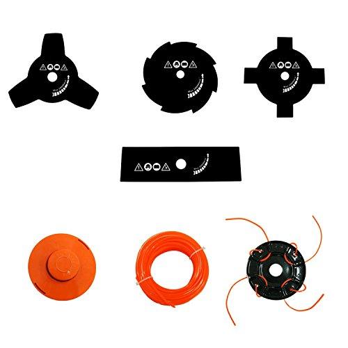 Todeco - Outil de Jardinage Multifonction, Outils à Essence - Cylindrée: 52 cm³ - Fonctions: Coupe-herbe - Orange, 10 en 1