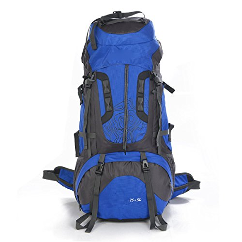 Große 75 Liter Reise Wandern Camping Rucksack Rucksack Urlaub Gepäcktasche,Orange Blue