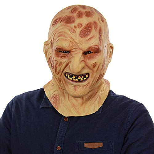 Krueger Beängstigend Freddy Kostüm - VAWAA Deluxe Freddy Maske Realistische Erwachsene Party Kostüm Horror Maske Beängstigend Halloween Karneval Cosplay Zombie Maske Cosplay Masken
