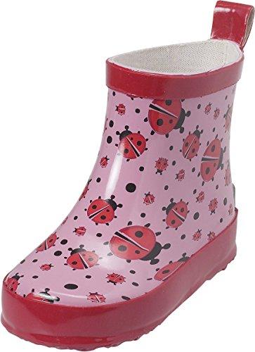 Playshoes Kinder Halbschaft-Gummistiefel aus Naturkautschuk, trendige Unisex Regenstiefel mit Reflektoren, mit Käfer-Muster, Pink (original 900), 27 EU