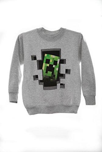 Minecraft Creeper Inside Mine Craft-Pullover felpa prodotto esclusivo, colore: grigio Grigio grigio