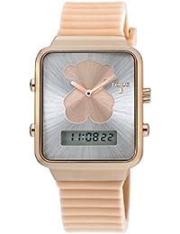 Reloj Tous digital I-Bear de acero IP rosado con correa de silicona nude con bolso verano Tous de regalo